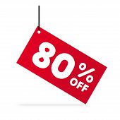 80% OFF discount. Discount offer price Illustration. Vector discount symbol. Hung red  tag. White background. poster