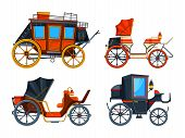 Carriage flat style. Illustrations set of various chariot poster
