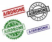 AIRDRONE seal prints with damaged surface. Black, green, red, blue vector rubber prints of AIRDRONE title with corroded surface. Rubber seals with circle, rectangle, rosette shapes. poster