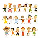 kids multicultural traditional costumes poster