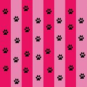 cat trace in pink background pattern vector poster