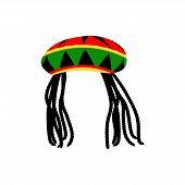 Jamaican rasta hat with dreadlocks. Reggae style avatar. Isolated on white background. Vector EPS 10. poster