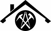roof and roofing tools, roofer logo or sticker label poster