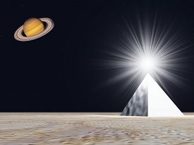 Sci-Fi scene with an alien artifact and Saturn.3D rendering.