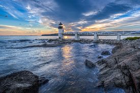 Waves Crashing At Marshall Point Lighthouse Sunset - Port Clyde, Maine, Usa