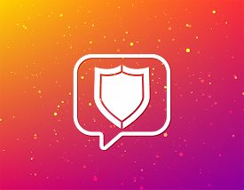 Shield Protection Icon. Defense Equipment Symbol. Soft Color Gradient Background. Speech Bubble With