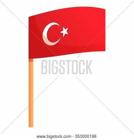 Turkish Flag Icon. Cartoon Of Turkish Flag Vector Icon For Web Design Isolated On White Background