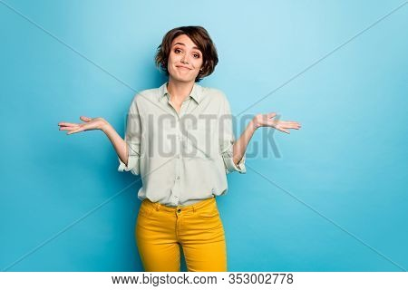 Photo Of Pretty Lady Raise Hands Shrug Shoulders Do Not Care Friends Problems Ignoring Smile Wear Ca