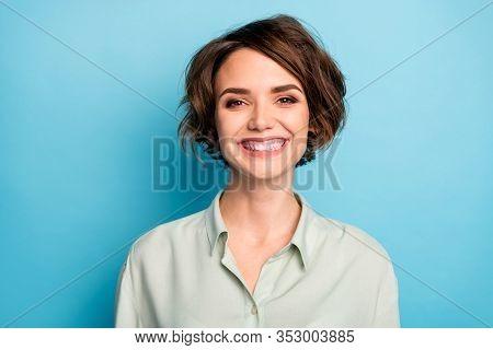 Closeup Photo Of Attractive Business Lady Short Bob Hairstyle Smiling Beaming Good Mood Responsible