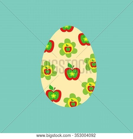 Hand Drawn Doodle Easter Egg Filled With Cute Kids Pattern In Patch Technique With Red Apples Green