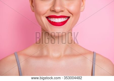 Close Up Cropped Photo Of Cheerful Girl Visit Dental Medical Clinic Have Implantology Procedure Vene