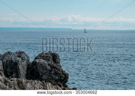 Atlantic Ocean Coast Landscape In Cascais Portugal