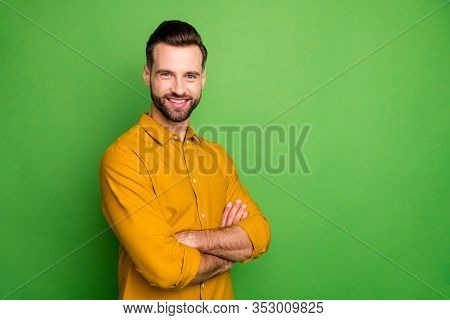 Profile Photo Of Good Mood Young Business Man Crossed Arms Meeting Colleagues Corporate Seminar Form