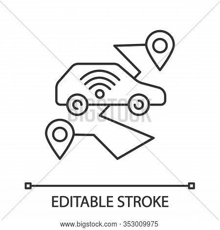 Self Driving Car Linear Icon. Smart Navigation. Thin Line Illustration. Setting Pickup And Drop Off