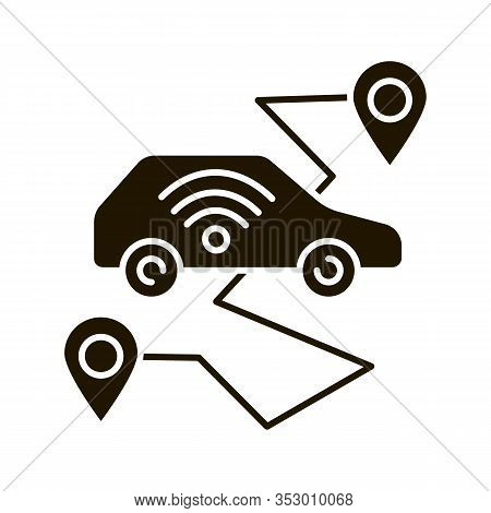 Self Driving Car Glyph Icon. Smart Navigation. Setting Pickup And Drop Off Locations. Driverless Aut
