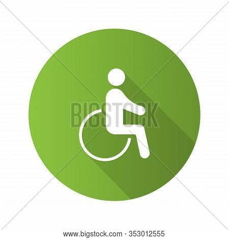 Accessible Flat Design Long Shadow Glyph Icon. Disability. Disabled Person. Handicap. Man In Wheelch