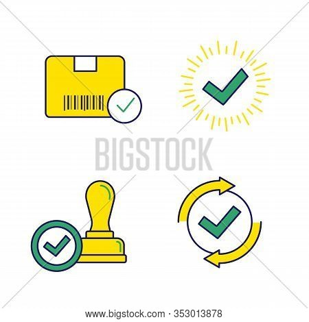 Approve Color Icons Set. Verification And Validation. Approved Delivery, Check Mark, Stamp Of Approv