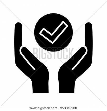 Quality Services Glyph Icon. Quality Assurance. Verification And Validation. Meeting Requirements. H