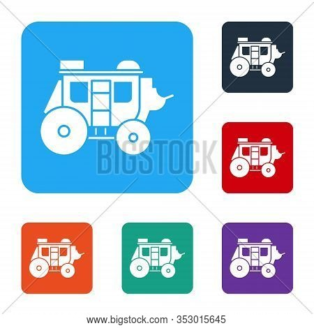 White Western Stagecoach Icon Isolated On White Background. Set Icons In Color Square Buttons. Vecto