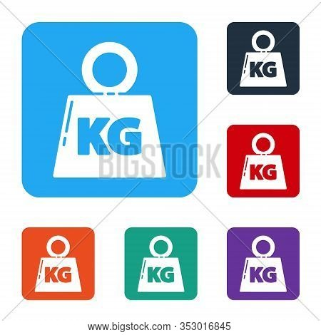 White Weight Icon Isolated On White Background. Kilogram Weight Block For Weight Lifting And Scale.