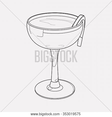 Sidecar Cocktail Icon Line Element. Illustration Of Sidecar Cocktail Icon Line Isolated On Clean Bac