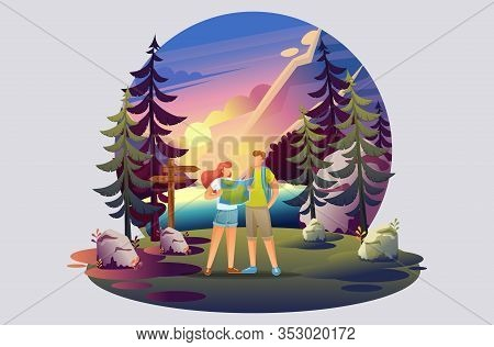 Bright Illustration Of A Campsite, Young People Studying A Map Of The Forest. Flat 2d Characters. Co