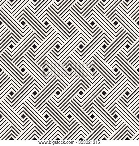 Vector Seamless Pattern. Decorative Geometric Interlaced Lines. Monochrome Bold Stripes Background.