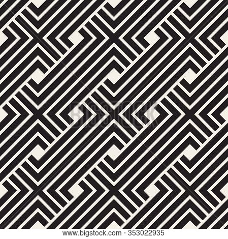 Vector Seamless Pattern. Interweaving Thin Lines Abstract Background. Geometric Waved Trellis Design