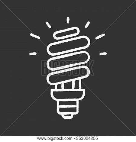 Energy Saving Light Bulb Chalk Icon. Compact Fluorescent Lamp. Energy Efficiency Light. Isolated Vec