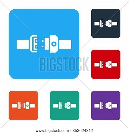 White Safety Belt Icon Isolated On White Background. Seat Belt. Set Icons In Color Square Buttons. V