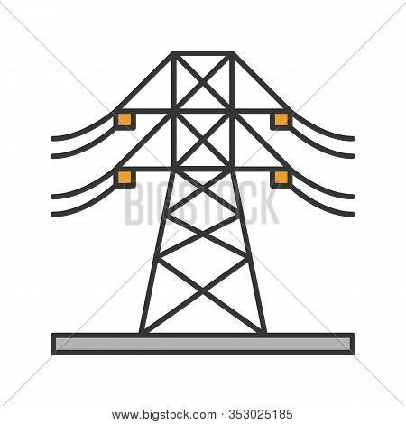 High Voltage Electric Line Color Icon. Powerline. Electric Power Pylon. Transmission Tower. Isolated