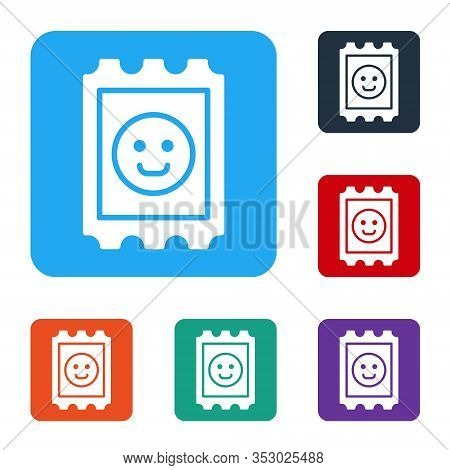 White Lsd Acid Mark Icon Isolated On White Background. Acid Narcotic. Postmark. Postage Stamp. Healt