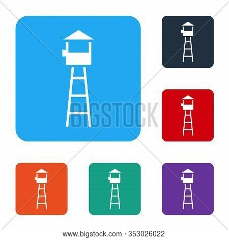 White Watch Tower Icon Isolated On White Background. Prison Tower, Checkpoint, Protection Territory,