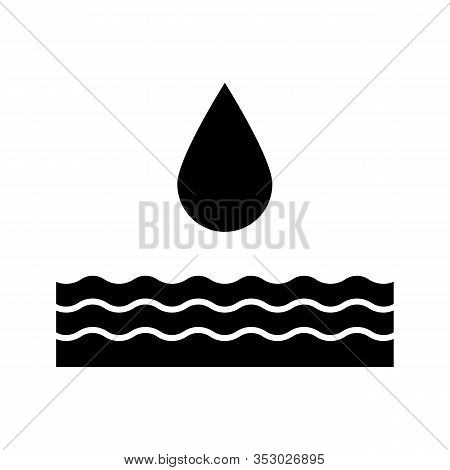 Water Energy Glyph Icon. Hydropower. Hydroelectricity. Silhouette Symbol. Negative Space. Vector Iso