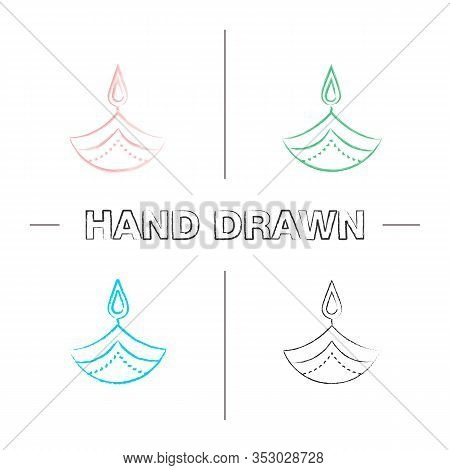 Diya Hand Drawn Icons Set. Islamic Oil Lamp. Diwali. Festival Of Lights. Burning Bowl Oil Lamp. Colo