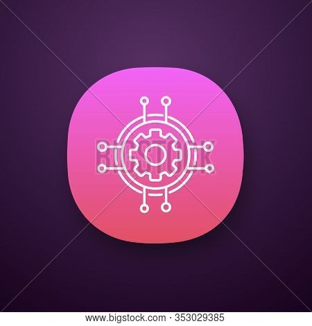 Digital Settings App Icon. Technological Progress And Innovation. Ui Ux User Interface. Gear. Machin