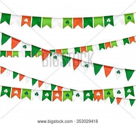 Vector Flag Garland For St. Patricks Day On White Background