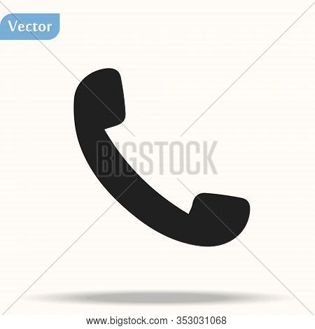 Phone Icon In Trendy Flat Style Isolated On Grey Background. Handset Icon With Waves. Telephone Symb