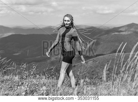 Summer Tourism. Woman Trekking Clothes Mountains Landscape Background. Trekking Hobby. Active Leisur