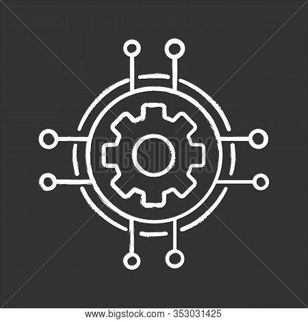 Digital Settings Chalk Icon. Technological Progress And Innovation. Gear. Machine Learning. Cogwheel