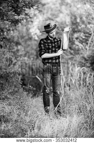 Real Cowboys Never Run. Western Cowboy Portrait. Man Checkered Shirt On Ranch. Vintage Style Man. Wi