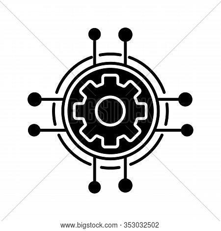 Digital Settings Glyph Icon. Technological Progress And Innovation. Silhouette Symbol. Gear. Machine