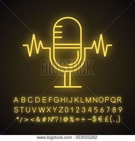 Speech Recognition Neon Light Icon. Voice Command Control. Microphone. Sound Recording. Glowing Sign
