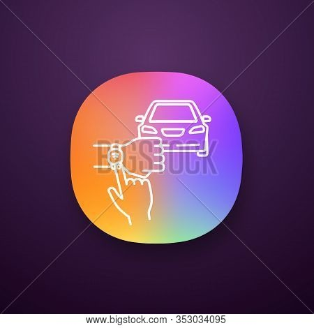 Nfc Car App Icon. Nfc Bracelet Auto Key. Smart Automobile. Near Field Communication Auto Control. Ui