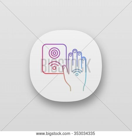 Nfc Reader App Icon. Rfid Access Control. Ui Ux User Interface. Nfc Button And Hand Sticker. Near Fi