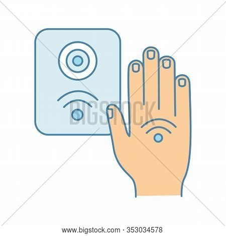 Nfc Reader Color Icon. Rfid Access Control. Nfc Button And Hand Sticker. Near Field Communication. R