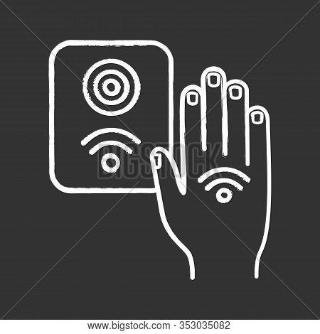 Nfc Reader Chalk Icon. Rfid Access Control. Nfc Button And Hand Sticker. Near Field Communication. R