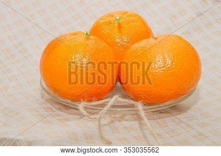 Ripe Orange Fresh Mandarin, Mandarin Slices, Isolated On White Background