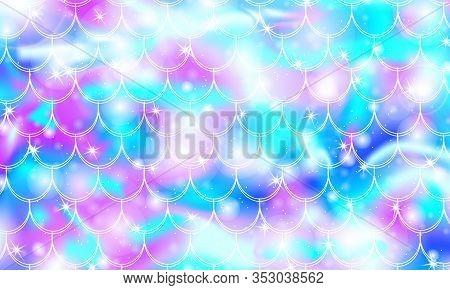 Mermaid Scales. Fish Squama. Kawaii Pattern. Watercolor Holographic Stars. Rainbow Background. Color