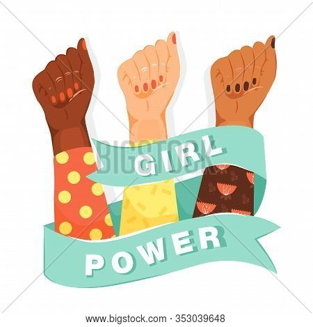Feminism, Girl Power Concept. Feminism Symbol. Woman's Fists Showing Their Power With Ribbon And Ins